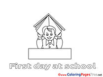 Illustration Boy with Book Children download Colouring Page