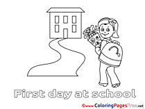 Illustration Girl goes to School free printable Coloring Sheets