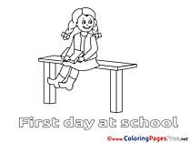 Illustration Girl sitting download Colouring Sheet free