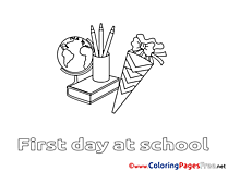 Kids School Supplies download Coloring Pages