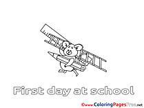 Koala School Colouring Sheet download free