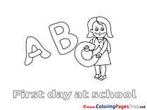 Letters for free Coloring Pages Girl School download