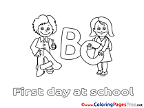 Letters Kids free Coloring Page School