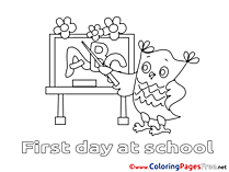 Owl Classroom for Kids printable Colouring Page