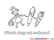 Pen Girl Children download Colouring Page