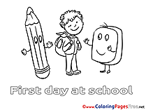 Pencil Kids free Coloring Page