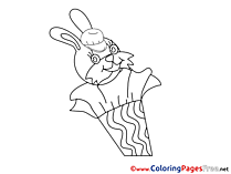 Rabbit School for Kids printable Colouring Page
