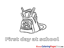 Schoolbag for Children Supplies free Coloring Pages
