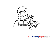Student reads Book Kids download Coloring Pages