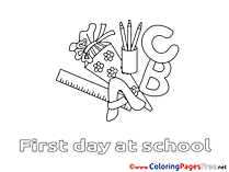 Supplies for Children School free Coloring Pages