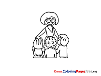 Teacher with Pupils Children Coloring Pages free