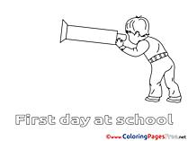 Telescope Boy School Coloring Sheets download free