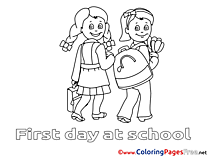 Tulips Kids School Coloring Pages for free