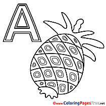 Ananas Alphabet free Coloring Pages
