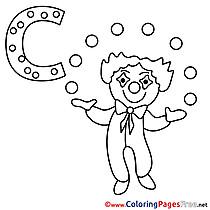 Clown Coloring Pages Alphabet