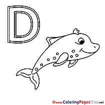 Delphin free Colouring Page Alphabet