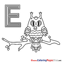 Eule Alphabet Coloring Pages free