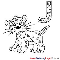 Jaguar Kids Alphabet Coloring Page