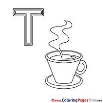 Teetasse free Colouring Page Alphabet