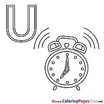 Uhr Alphabet Coloring Pages free