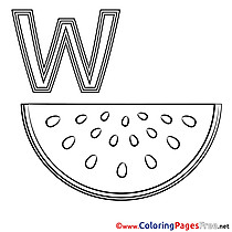 Wassermelone Coloring Sheets Alphabet free