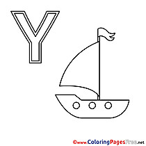 Yacht Colouring Sheet download Alphabet