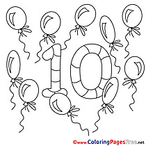 10 Balloons Numbers Coloring Pages download