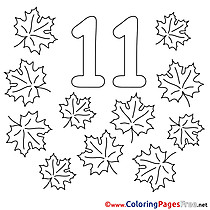 11 Leaves Colouring Page Numbers Free