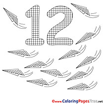 12 Planes For Kids Numbers Colouring Page