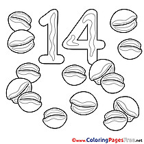 14 Nuts free Numbers Coloring Sheets