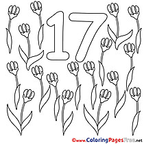 17 Flowers printable Numbers Coloring Sheets