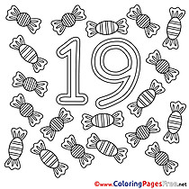 19 Candies free Colouring Page Numbers