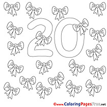 20 Ribbons Numbers Coloring Pages free
