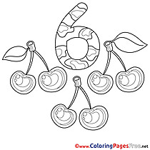 6 Cherries Coloring Sheets Numbers free