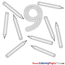 9 Pencils Kids Numbers Coloring Page