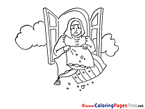 Fairy Tale Old Woman Colouring Sheet free