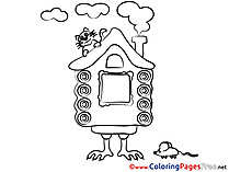Hut on Chicken Legs Coloring Sheets download free