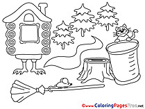 Hut on Chicken Legs for Kids printable Colouring Page