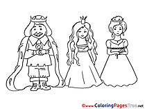 King with Princess  printable Coloring Pages