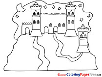 Night Castle for Kids printable Colouring Page