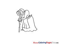 Old Woman Colouring Sheet download free