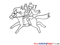 Prince riding Horse free Colouring Page download