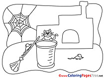 Web Cat Broom for Children free Coloring Pages