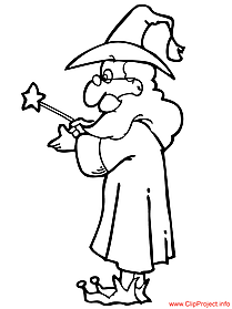 Wizard coloring magician free sheet