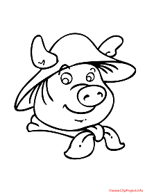 Cartoon pig coloring sheet farm