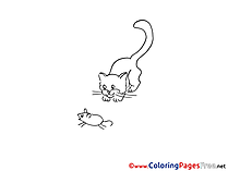 Cat with Mouse download Coloring Pages