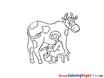Cow download Colouring Sheet free