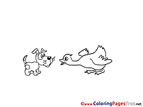 Dog with Bird download Colouring Page