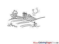 Farm for Kids printable Colouring Page