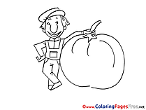 Farmer download Colouring Sheet free